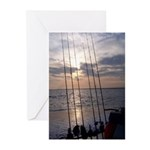 Beach Sunset Fishing Poles Greeting Cards (Pk of 2