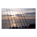 Beach Sunset Fishing Poles Sticker (Rectangle 10 p