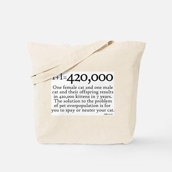 420,000 Cat Overpopulation Tote Bag