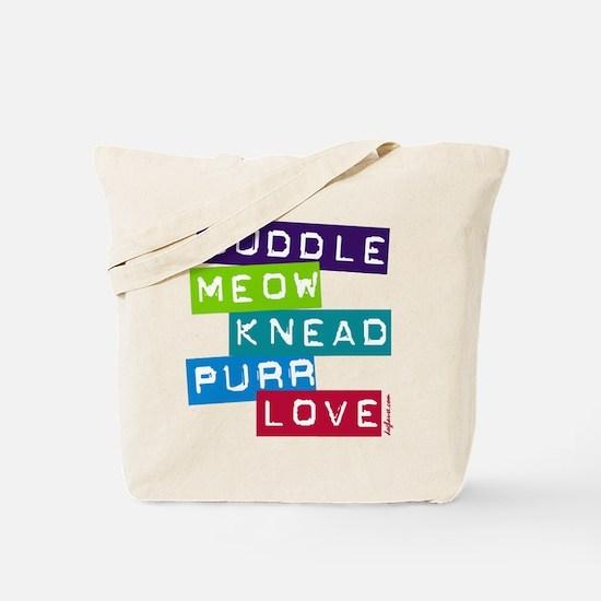 Cuddle Meow Knead Purr Love Tote Bag