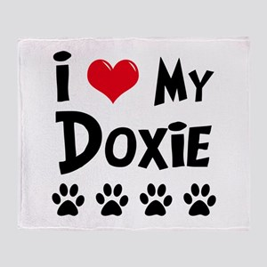 I Love My Doxie Throw Blanket