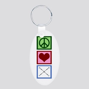 Peace Love Twirl Aluminum Oval Keychain