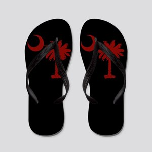 Black USC Flip Flops
