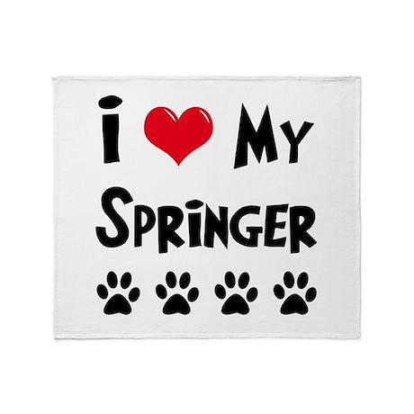 I Love My Springer Throw Blanket