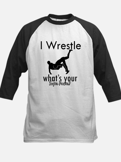 I Wrestle Kids Baseball Jersey