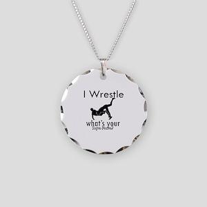 I Wrestle Necklace Circle Charm