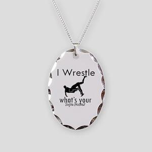 I Wrestle Necklace Oval Charm