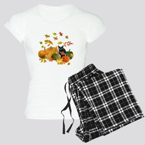 Black Cat Pumpkins Women's Light Pajamas