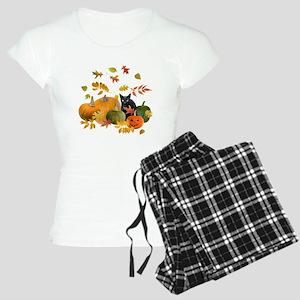 Black Cat Pumpkins Women's Light Pajamas