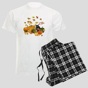 Black Cat Pumpkins Men's Light Pajamas