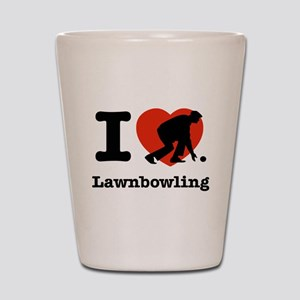 I love Lawn bowling Shot Glass