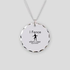 I Fence Necklace Circle Charm