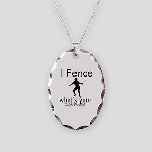 I Fence Necklace Oval Charm