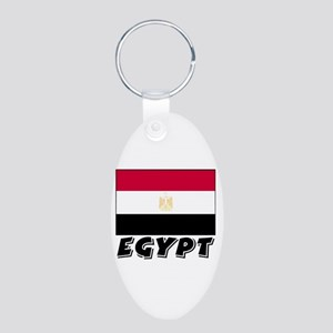 Egypt Flag (World) Aluminum Oval Keychain