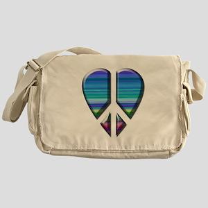 Peace heart blue stripe Messenger Bag
