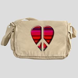 Peace heart red stripe Messenger Bag