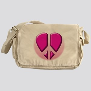 Peace heart in pink Messenger Bag