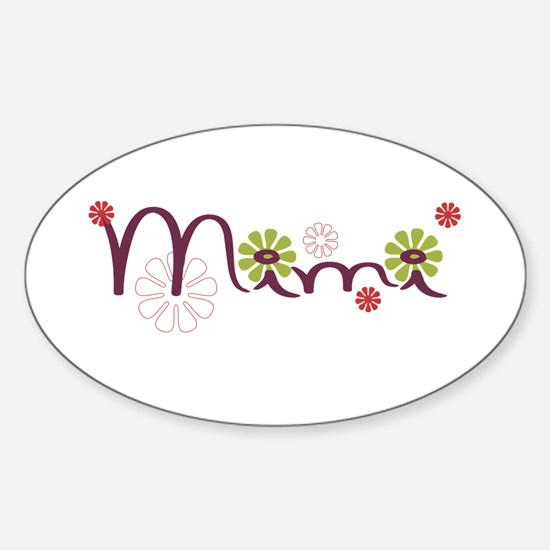 Mimi With Flowers Sticker (Oval)