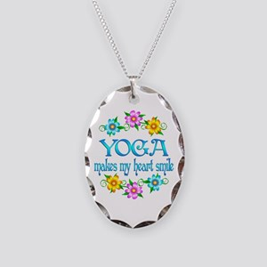 Yoga Smiles Necklace Oval Charm