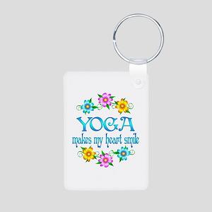 Yoga Smiles Aluminum Photo Keychain