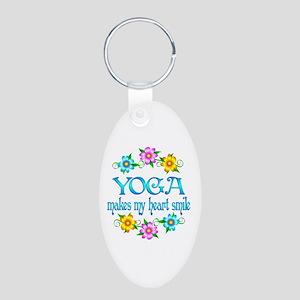 Yoga Smiles Aluminum Oval Keychain