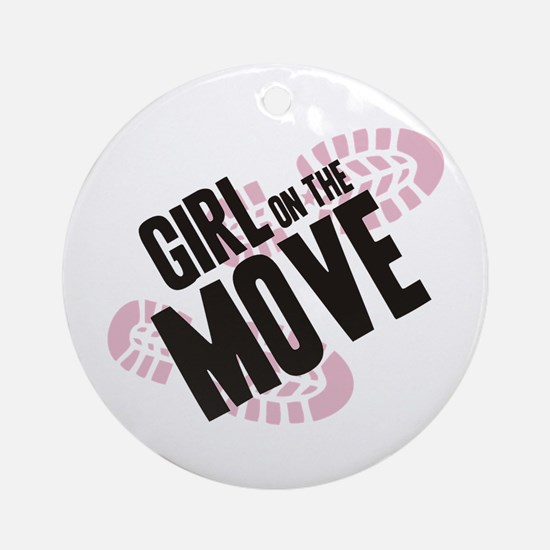Girl on the Move Ornament (Round)