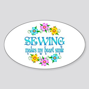 Sewing Smiles Sticker (Oval)