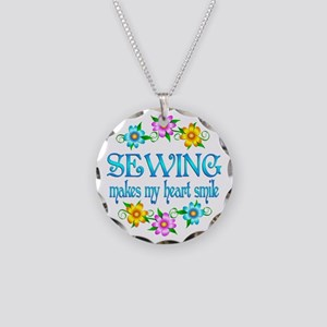 Sewing Smiles Necklace Circle Charm