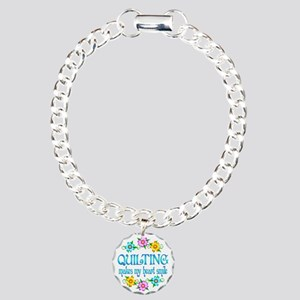 Quilting Smiles Charm Bracelet, One Charm