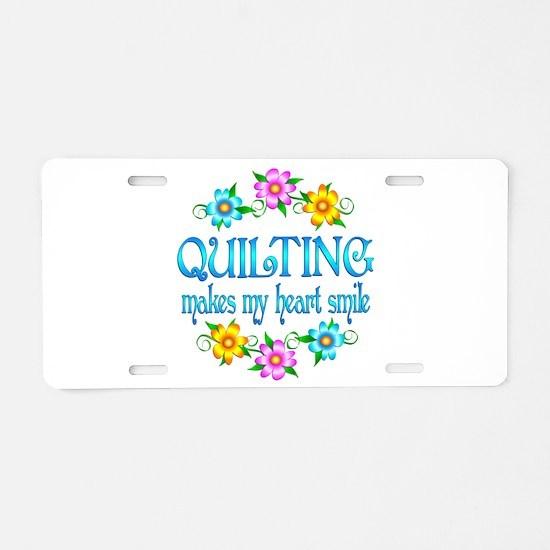 Quilting Smiles Aluminum License Plate