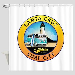 Santa Cruz California Surfer Van Shower Curtain