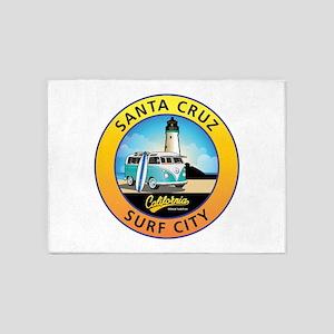 Santa Cruz California Surfer Van 5'x7'Area Rug