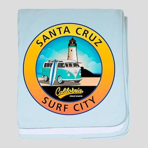 Santa Cruz California Surfer Van baby blanket