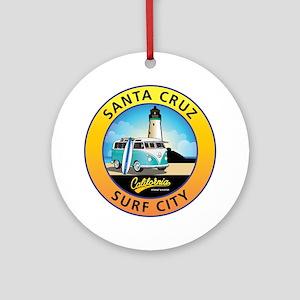 Santa Cruz California Surfer Van Round Ornament