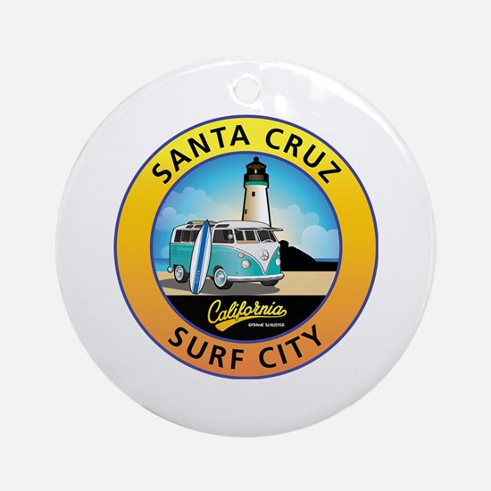 Santa Cruz California Surfer Van Round Ornament