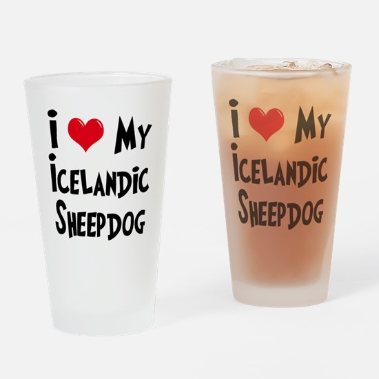 I Love My Icelandic Sheepdog Drinking Glass