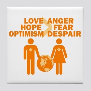 Love Hope Optimism Tile Coaster