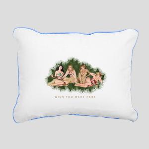 Hula Girls Wishing You W Rectangular Canvas Pillow