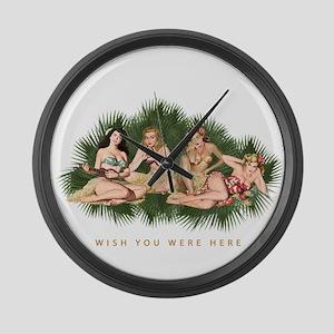 Hula Girls Wishing You Were Here Large Wall Clock
