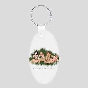 Hula Girls Wishing You Were Aluminum Oval Keychain