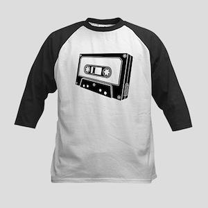 Black & White Cassette Tape Kids Baseball Jersey