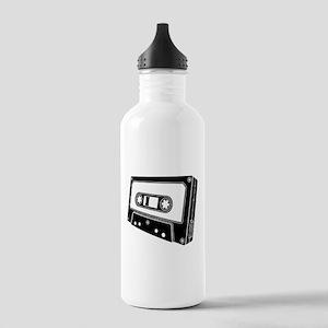 Black & White Cassette Tape Stainless Water Bottle
