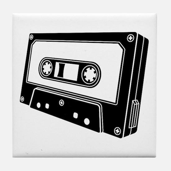 Black & White Cassette Tape Tile Coaster