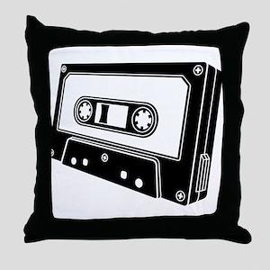 Black & White Cassette Tape Throw Pillow