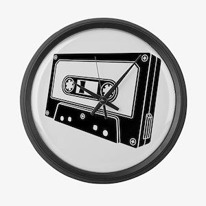 Black & White Cassette Tape Large Wall Clock