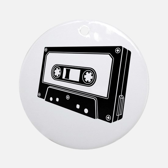 Black & White Cassette Tape Ornament (Round)