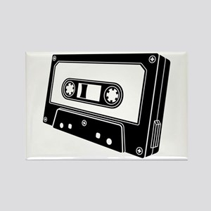 Black & White Cassette Tape Rectangle Magnet