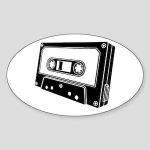 Black & White Cassette Tape Sticker (Oval)