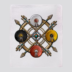 Native Medicine Wheel Mandala Throw Blanket