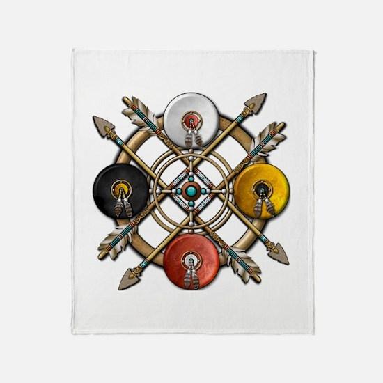 Native Medicine Wheel Mandala Throw Blanket